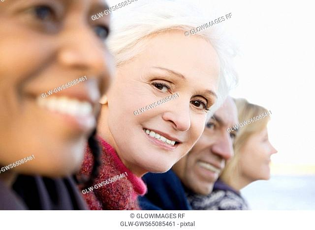 Portrait of a senior woman smiling with her friends