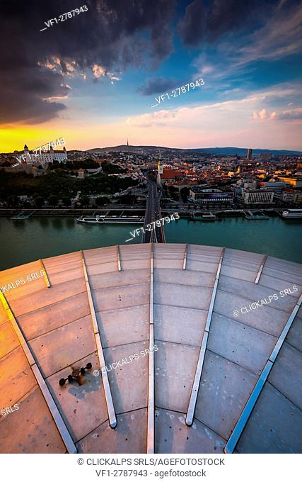 Bratislava, Slovakia, center Europe. Panoramic view from UFO terrace restaurant on Novy Most bridge