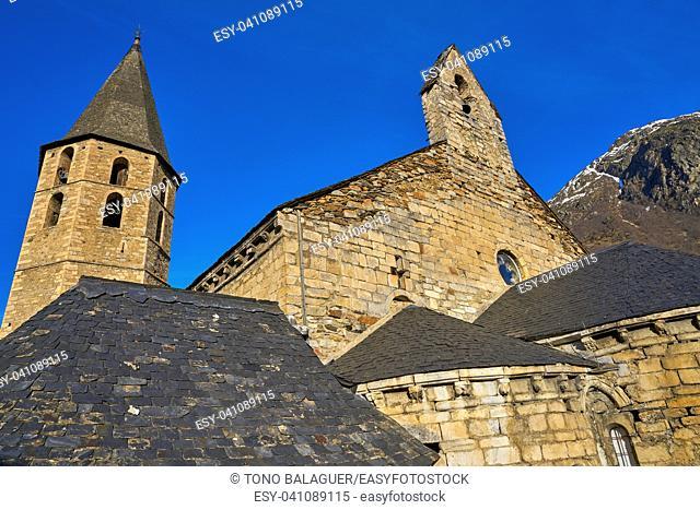 Salardu village church in Lerida Catalonia of Spain Pyrenees in Aran Valley