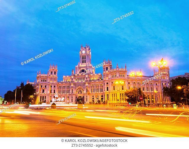 Spain, Madrid, Plaza de Cibeles, Twilight view of the Cybele Palace
