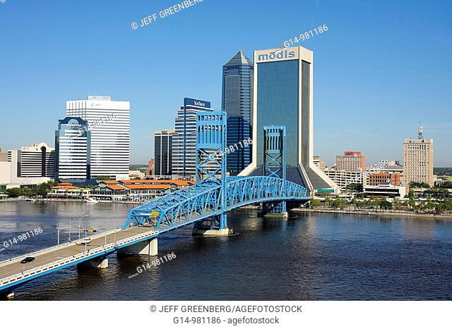Florida, Jacksonville, Saint St  Johns River, John Alsop Bridge, Main Street Bridge, vertical lift, landmark, Jacksonville Landing, city skyline, Modis Building