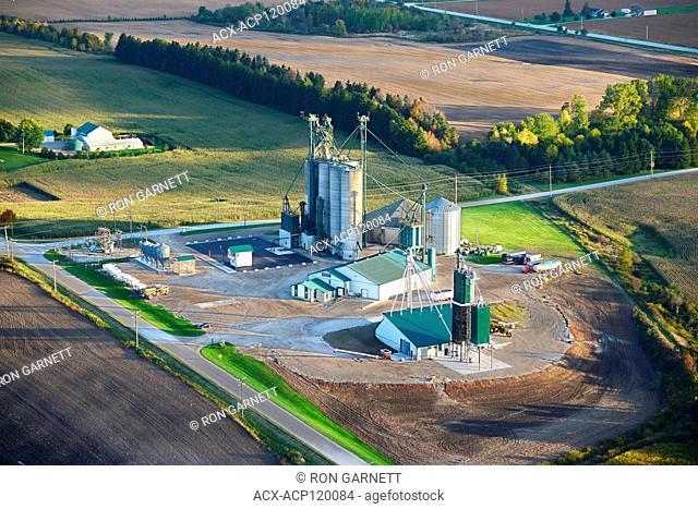 aerial, Parrish & Heimbecker grain handling, Blyth, Ontario