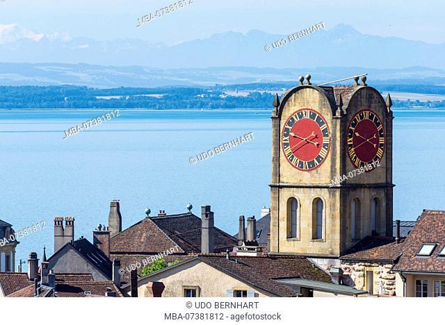 Old town with tower 'Tour de Diesse' in front of Lac de Neuchatel, Neuchâtel, Canton Neuchâtel, Western Switzerland, Switzerland