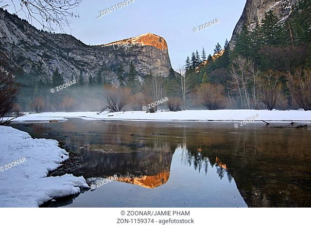 Damatic winter view of Mirror Lake in Yosemite National Park