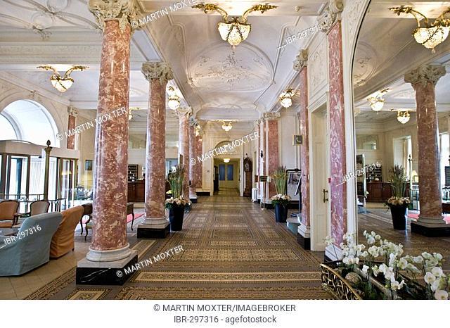 Gorgeous entrance hall of the Schweizerhof, Lucerne, Switzerland
