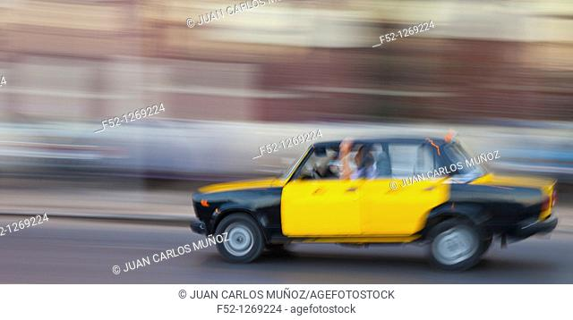 Taxis in the City of Alexandria, Egypt, Mediterranean Sea