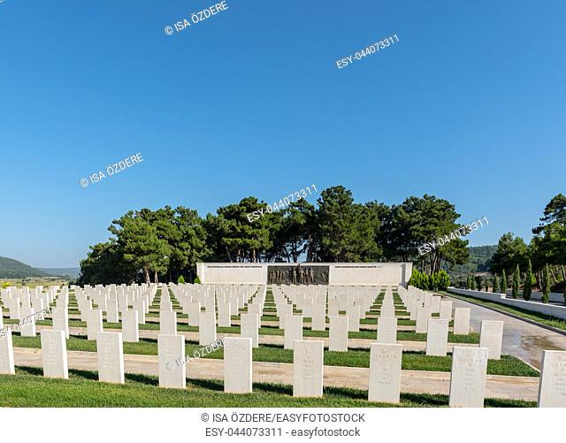 High Resolution panoramic view of Akbas Martyrs Cemetery and Memorial in Canakkale,Turkey. TURKEY, Canakkale,18 August 2017