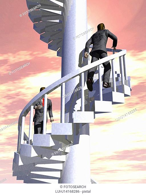 Two businessmen running up circular staircase, CG, 3D, Illustration, Low Angle View