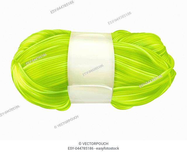 Yarn wool clew vector illustration of knitting textile yellow or green thread for weaving or knitwear product design isolated on white background