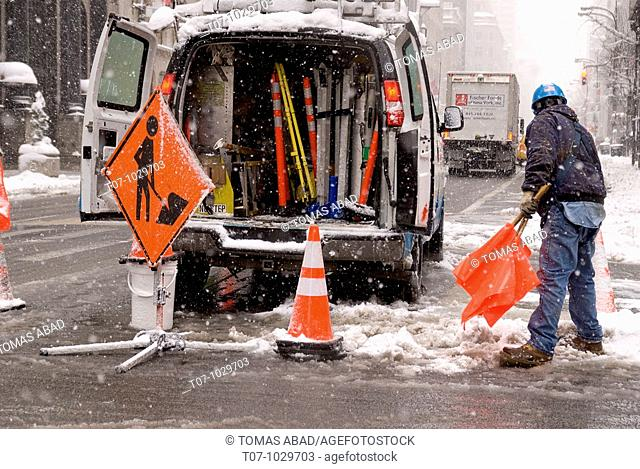Consolidated Edison Company of New York (Con Edison), a regulated utility, performing emergency maintenance work on 5th Avenue, Manhattan