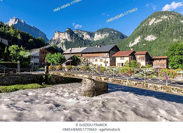 France, Haute-Savoie, Giffre valley, Sixt Fer a Cheval labeled Plus Beaux Villages de France, bridge over the Giffre river
