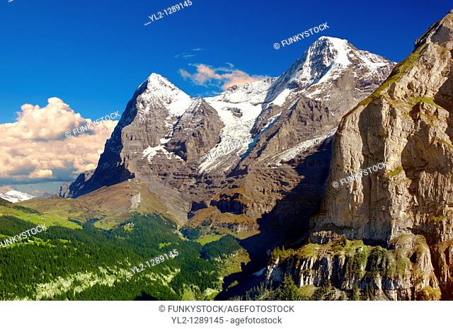 The Eiger left & Jungfrau Right from Murren - Alps Switzerland