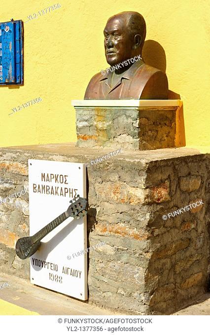 Bust of Rebetiko musician Markos Vamvakaris   aµßa  195 - 1972 , Ano Syros, Syros Island  S  , Greek Cyclades Islands