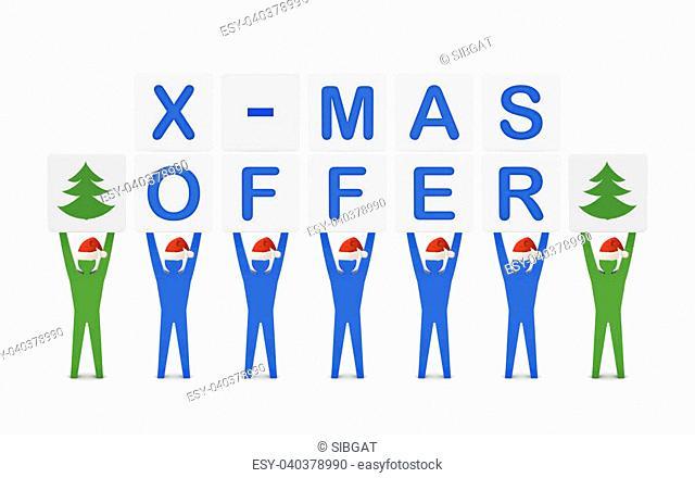 Men holding the words X-mas Offer. Concept 3D illustration