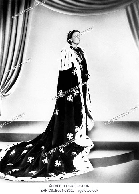 Dutch Queen Juliana, in an royal robe decorated with the House of Orange Insignia. Sept. 13, 1948. Queen Juliana assumed the thrown of the Dutch Empire upon the...