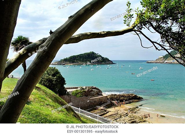 View of the Bay of La Concha from the Miramar Palace  Pico del Loro and Santa Clara island  Donostia-San Sebastian  European Capital of Culture 2016