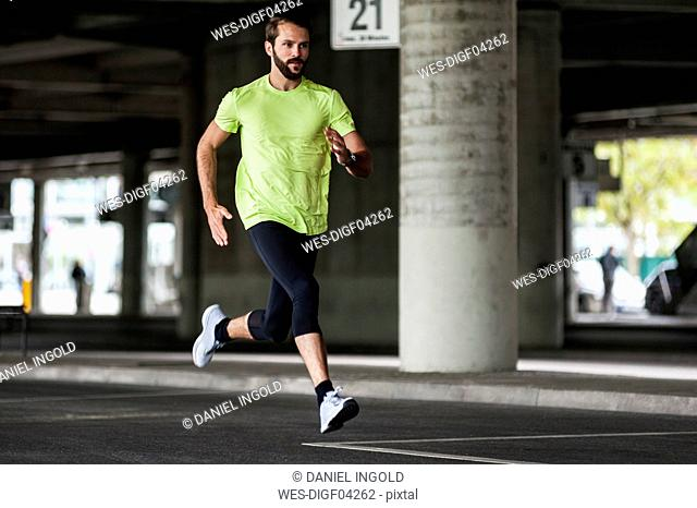 Man running on a street