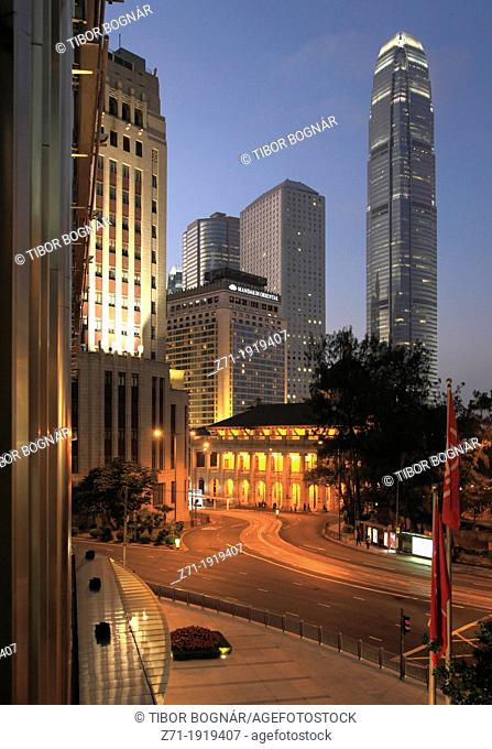China, Hong Kong, Central district at night, Legislative Council, International Finance Center