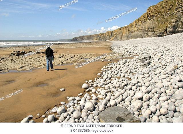 Woman walking along a beach, cliffs, coast, Nash Point, Glamorgan Heritage Coast, South Wales, Wales, United Kingdom, Europe