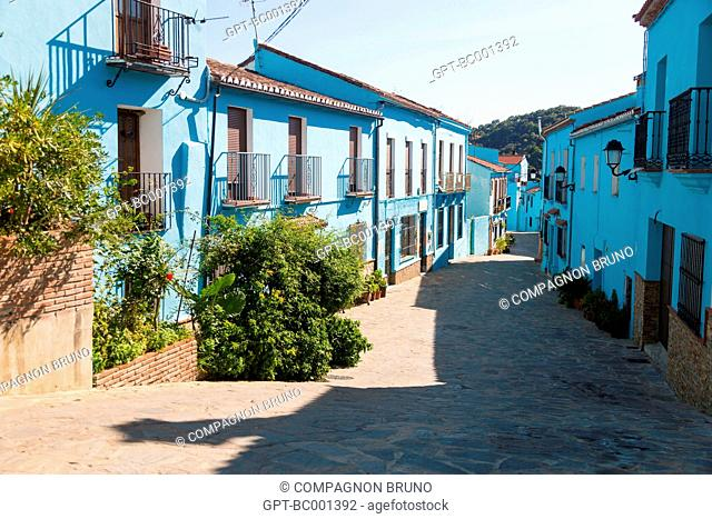 JUZCAR IS THE VILLAGE OF THE SMURFS. FOR THE FILM SHOOT, ALL THE WHITEWASHED HOUSES IN THE TOWN, A WHITE VILLAGE (PUEBLO BLANCO), WERE PANTED BLUE