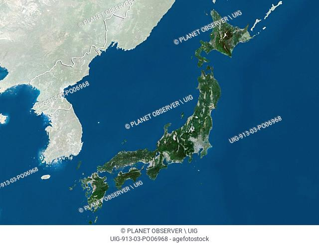 Satellite view of Japan (with country boundaries and mask). This image was compiled from data acquired by Landsat satellites