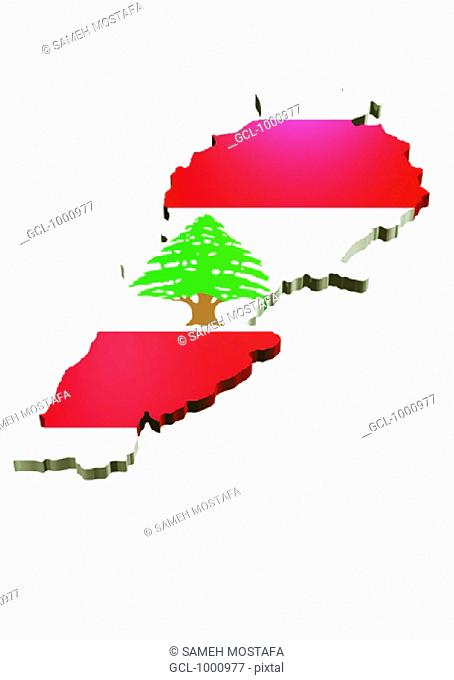 map and flag of Lebanon