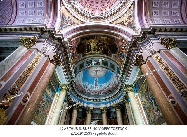 Low-angle view of church interior. Basílica Nuestra Señora de la Piedad (Basilica of Our Lady of Mercy), 1524 Bartolomé Mitre, Buenos Aires, Argentina