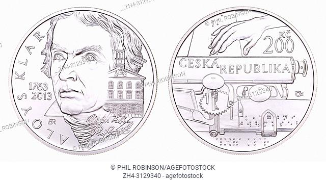 200Kc Silver commemorative coin (2013) from the Czech Republic : 250th Anniversary of Birth of Aloys Klar (1763-1833) philologist, pedagogue and philanthropist
