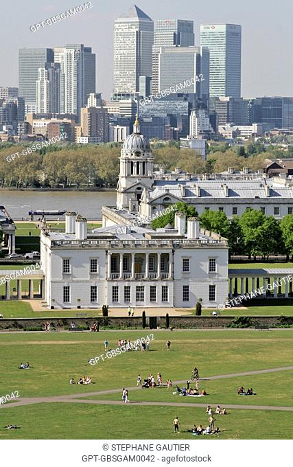 GENERAL VIEW OF MARITIME GREENWICH LISTED AS A WORLD HERITAGE SITE BY UNESCO, WITH THE NATIONAL MARITIME MUSEUM SET UP IN THE QUEEN'S HOUSE AND THE ROYAL NAVAL...