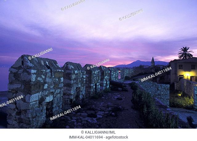 Upper castle, at night  Nafpaktos, Central Greece, Greece