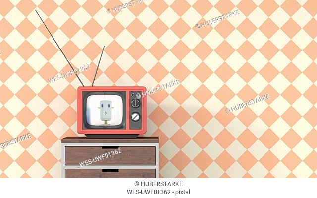 Female anchorwoman on chest of drawers in retro Tv, 3d rendering