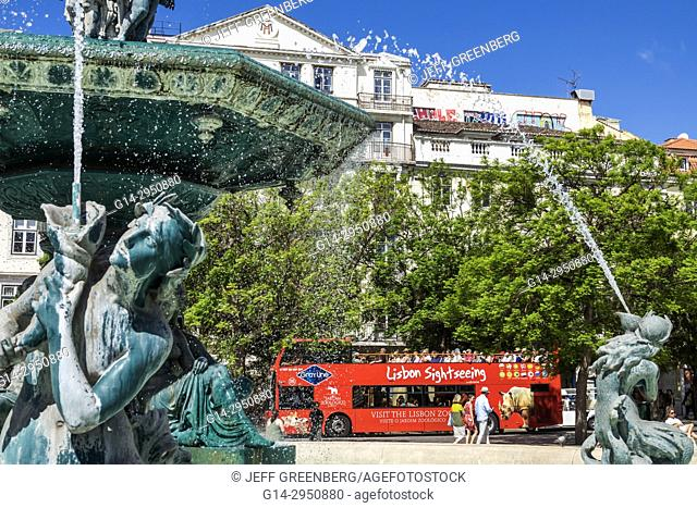 Portugal, Lisbon, Rossio Square, Pedro IV Square, fountain, statue, tour bus, sightseeing, double-decker motorcoach