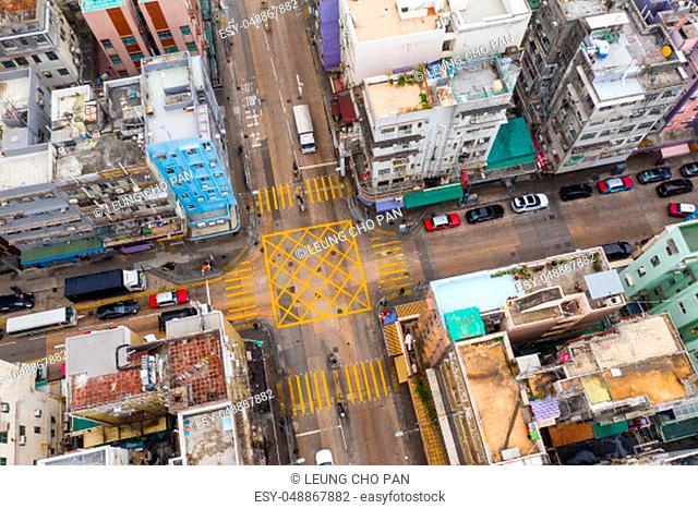 To kwa wan, Hong Kong 29 January 2019: Top view of Hong Kong city town