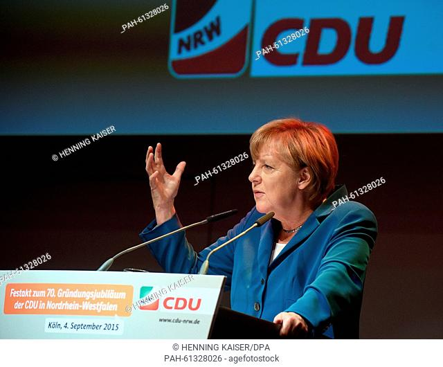 German Chancellor Angela Merkel speaks during a ceremonial act marking the 70th anniversary of German political party CDU in the state of North Rhine-Westphalia