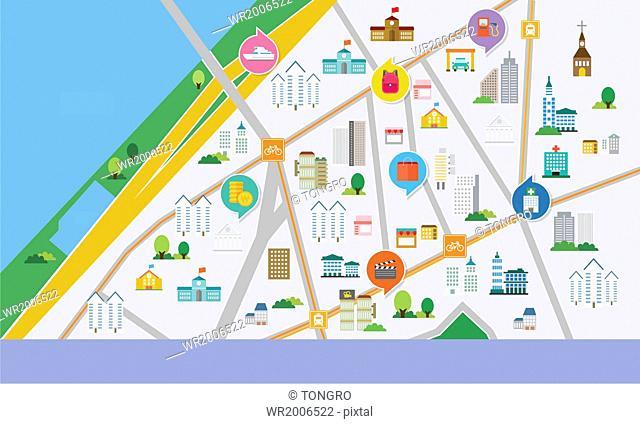 a city scene on a map