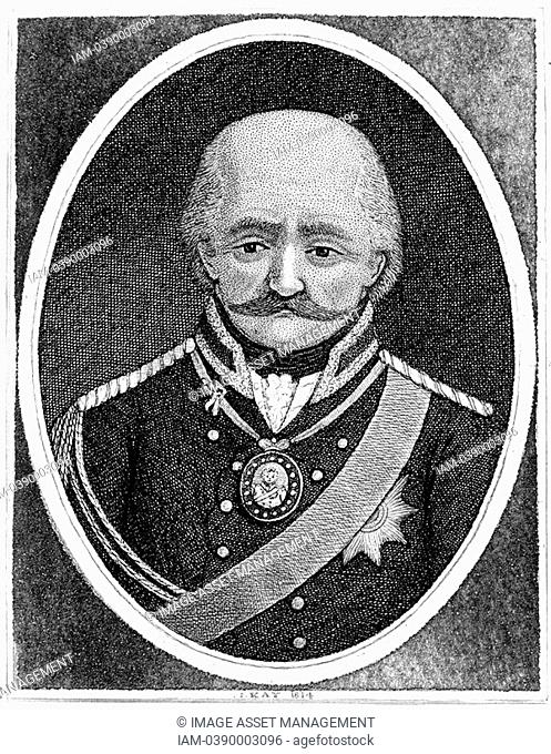 Gebbard Leberech Von Blucher 1742-1819 Prussian general  Important contribution to Wellington's victory at Waterloo  Etching by John Kay 1814