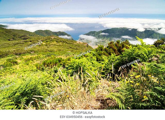 Spectacular view over the plateau Paul da Serra and Sao Vicente valley in Madeira island