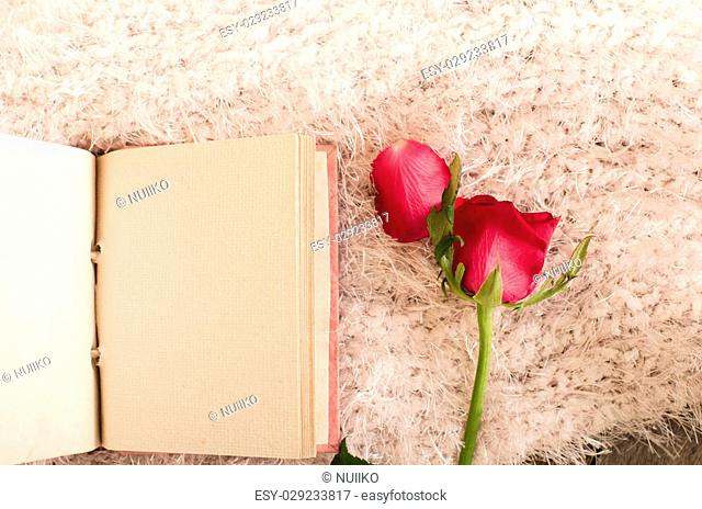 Red rose and Pink handmade mulberry paper notebook