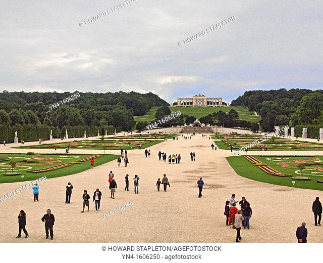 Schönbrunn Palace  Vienna, Austria  Schloss Schönbrunn  The gloriette is the structure on a hill beyond the Baroque Gardens in front of the palace