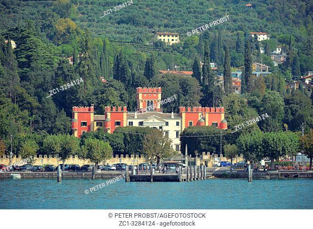 View from Lake Garda to the Villa Albertini in Garda - Italy