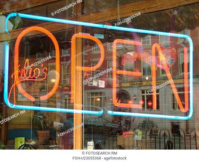 Montpelier, VT, Vermont, Neon Open sign, window, double exposure, Julio's Restaurant