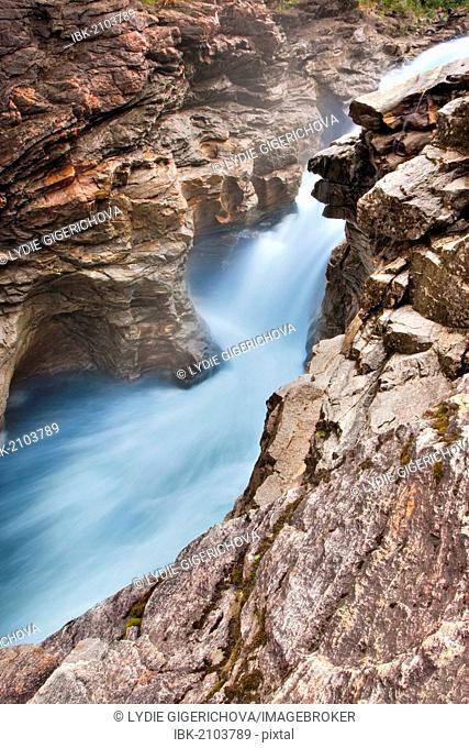 The rock labyrinth of Formofossen waterfalls on the Luru river, Nord-Trøndelag county, Trondelag, Norway, Scandinavia, Europe
