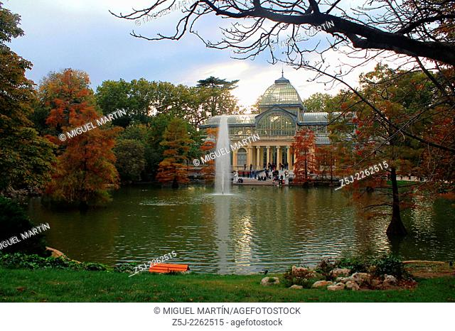 """The Palacio de Cristal (""""""""Crystal Palace"""""""", 1887), built as a greenhouse in the heart of Madrid's Retiro park and currently used by Reina Sofía Museum for..."""