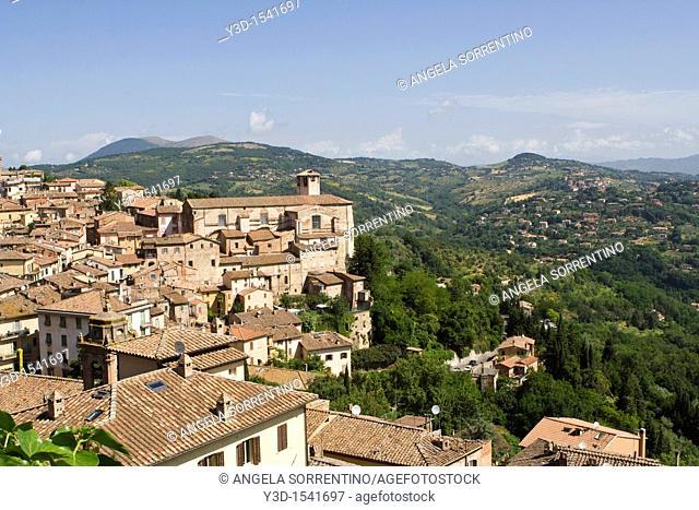 View on Perugia town, Umbria region, Italy