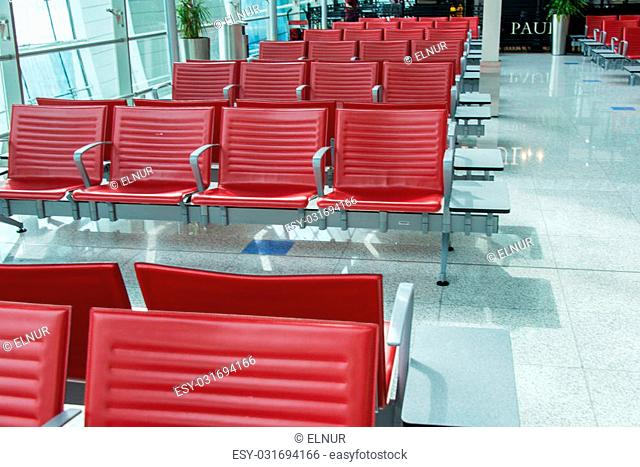 Chairs in the airport lounge area