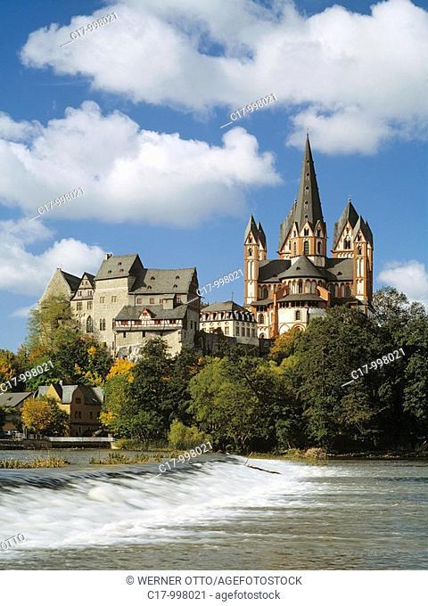 Germany, Limburg an der Lahn, Lahn, Lahn valley, Westerwald, Taunus, Hesse, Lahn landscape, waterfall, rapids, castle, cathedral