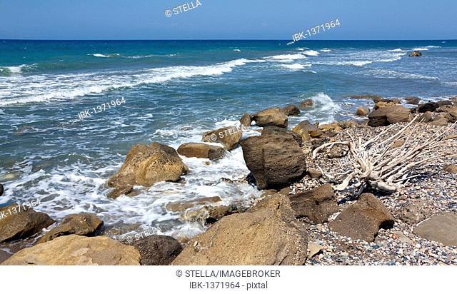 Wild coast near Kamiros, Rhodes island, west coast, Greece, Southern Europe, Europe