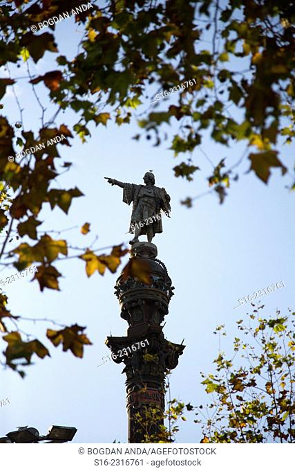 Columbus Monument placed at the sea end of La Rambla Avenue, in Plaza de la Pau. After 6 years of work, the artist Rafael Atché completed the sclupture in 1888