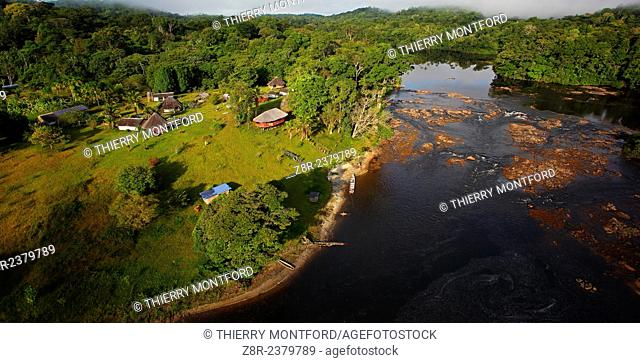"Touristic resort. """"Saut Athanase"""" on the Approuague river. Dry season. French Guiana"
