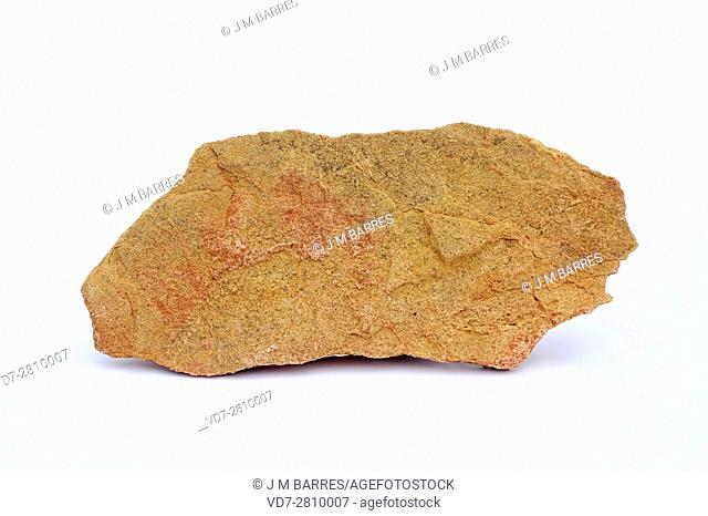 Calcarenite or sandy limestone is a sedimentary rock composed of sand and limestone (Calcium carbonate). This sample comes from Sierra de Albarracin, Teuel